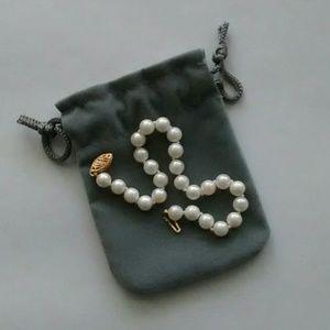 """White Pearl Bracelet 7"""" w/ 14k Clasp"""
